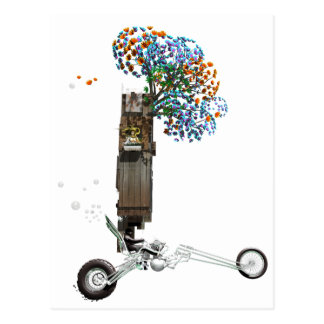 Das Baum-Haus-Chopper-Motorrad Postkarte