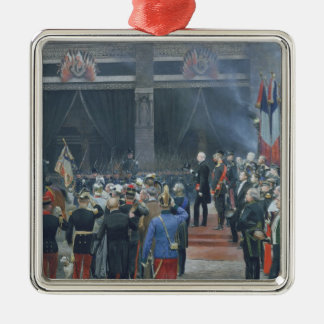 Das Begräbnis von Louis Pasteur Quadratisches Silberfarbenes Ornament