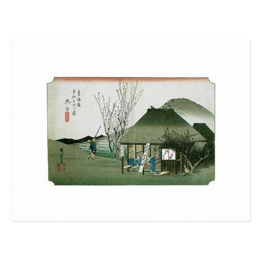 Das berühmte Teehaus bei Mariko, Japan Postkarte