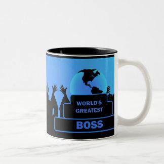 Das bestste Blau der Chef-Welt jubelt Tasse zu