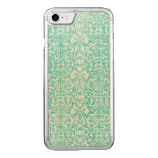 Das blaues Grün-Blumendamast gealterte Carved iPhone 8/7 Hülle