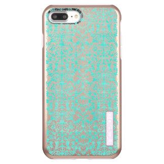 Das blaues Grün-Blumendamast gealterte Incipio DualPro Shine iPhone 8 Plus/7 Plus Hülle