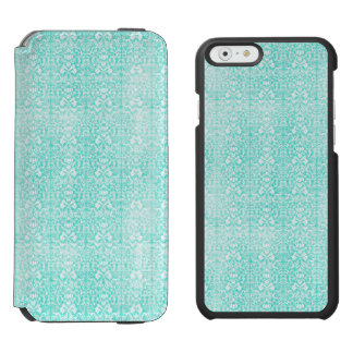 Das blaues Grün-Blumendamast gealterte Incipio Watson™ iPhone 6 Geldbörsen Hülle