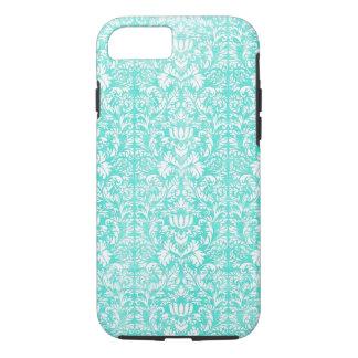 Das blaues Grün-Blumendamast gealterte iPhone 8/7 Hülle