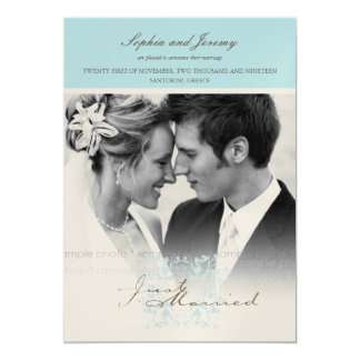 Das Blumen Aqua blühen Foto-Hochzeits-Mitteilung 12,7 X 17,8 Cm Einladungskarte