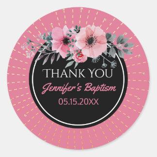 Das Blumen Aquarell danken Ihnen, | Mädchen-Taufe Runder Aufkleber