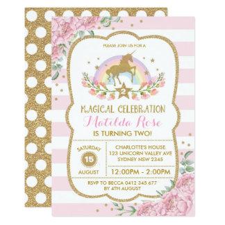 Das Blumen Einhorn-Einladungs-Regenbogen-Rosa-Gold Karte