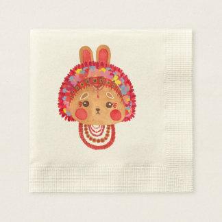 Das Blumen-Kronen-Häschen Papierserviette