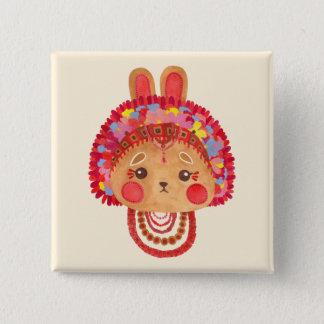 Das Blumen-Kronen-Häschen Quadratischer Button 5,1 Cm