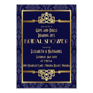 Das Brautparty der Paare, das Blau der Kunst-20s 12,7 X 17,8 Cm Einladungskarte