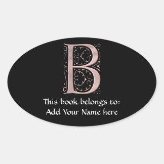 Das Buchstabe-Initialen-Monogramm B Ovaler Aufkleber