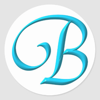 Das Buchstabe-Initialen-Monogramm B Runder Aufkleber