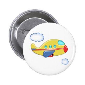 Das bunte Flugzeug des Kindes Button