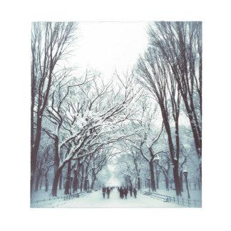 Das Central Park-Mall im Winter Notizblock