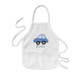 Das coole Gekritzel-blaues Auto-Fahrzeug u. Name Kinderschürze