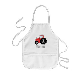 Das coole Gekritzel-roter Bauernhof-Traktor des Kinderschürze