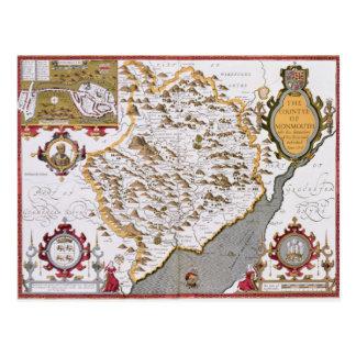 Das Countye von Monmouth, graviert durch Jodocus Postkarte