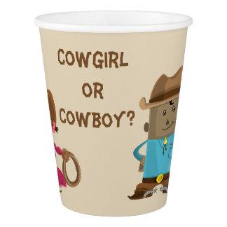 Das Cowgirl-oder Cowboy-Geschlecht decken Pappbecher