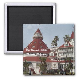 Das Del Coronado Hotel-Quadrat-Button Quadratischer Magnet