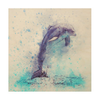 Das Delphinspringen Holzwanddeko