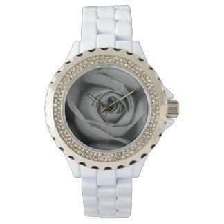 Das diamante de imitación-weiße Email-Rosen-Uhr Uhr