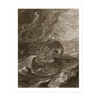 Das Dioscuri schützen ein Schiff, 1731 (Stich) Postkarte