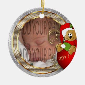 Das Diy des Kindes WeihnachtsFoto Rundes Keramik Ornament