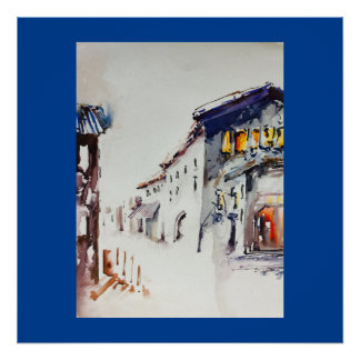 """Das Dorf tritt"" Kunst-Plakat Poster"