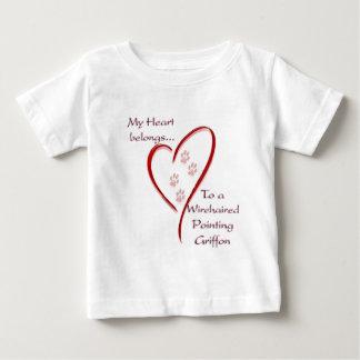 Das Drahthaar, das Griffon Herz zeigt, gehört Baby T-shirt