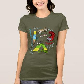 Das dunkle T-Shirt der Cartoon-HundeAgility-Frauen