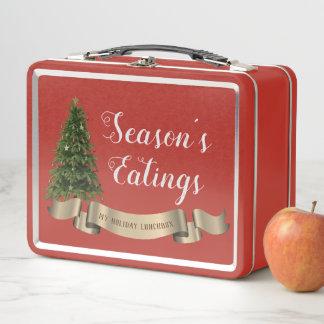 Das Eatings der Jahreszeit rote Metall Brotdose