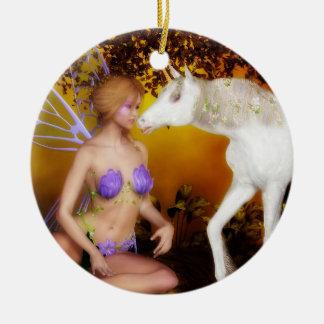 Das Einhorn und die Fee Keramik Ornament