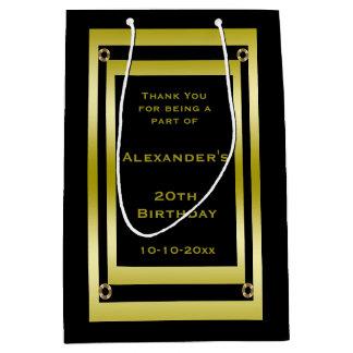 Das elegante, die Schwarze u. Gold gerahmt sind, Mittlere Geschenktüte