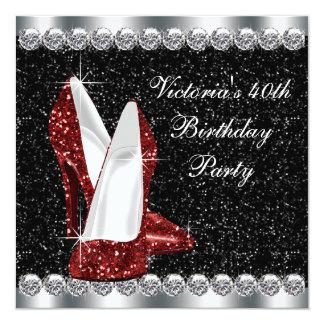 Das elegante karminrote Rot-40. Geburtstags-Party Quadratische 13,3 Cm Einladungskarte