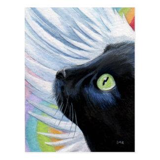 Das Enden-Engels-Katzen-Malerei-Postkarte des Rege