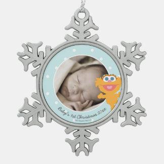 Das erste Weihnachten Babys Zoe | - addieren Sie Schneeflocken Zinn-Ornament