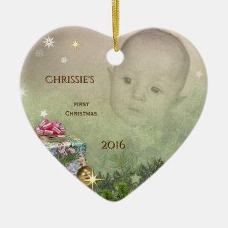 Das erste Weihnachten des Babys (kundengerecht) Keramik Herz-Ornament