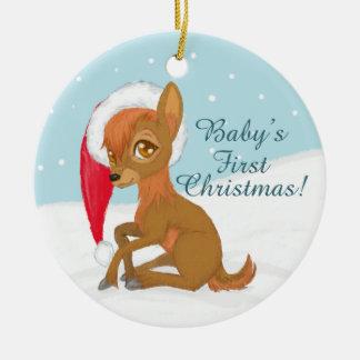 Das erste Weihnachten des Babys (Ren) Keramik Ornament