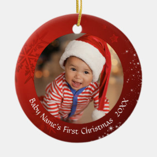 Das erste Weihnachten des Babys, rote Keramik Ornament