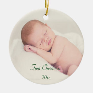 Das erste Weihnachten des Babys Rundes Keramik Ornament