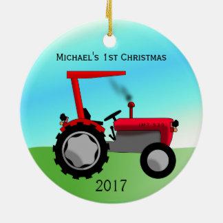 Das erste Weihnachten des niedlichen roten Rundes Keramik Ornament