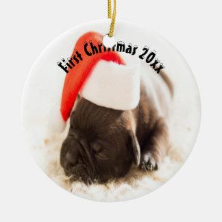 Das erste Weihnachten des Welpen Keramik Ornament