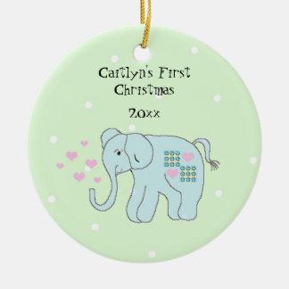 Das erste Weihnachten des wunderlichen Rundes Keramik Ornament