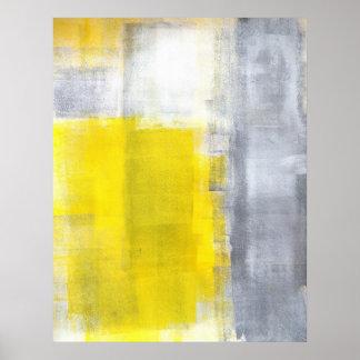 """""""Das es"""" graues und gelbes abstraktes Kunst-Plakat Poster"""