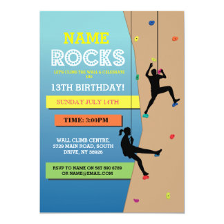 Das Felsen-Kletterngeburtstags-Party-Wand-Klettern Karte