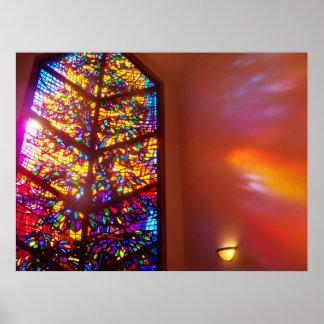 Das Fenster zum Himmels-Buntglas-Kirchen-Plakat Poster