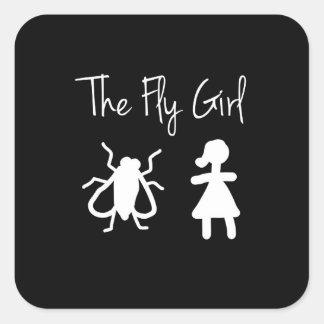 Das Fliegen-Mädchen Quadratischer Aufkleber
