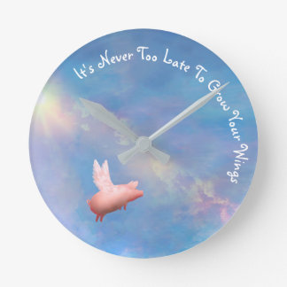 Das Fliegen Schwein-Wachsen Ihre Flügel Runde Wanduhr