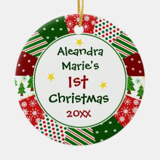 Das Foto und das 1. Weihnachten Ihres Babys Keramik Ornament