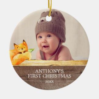 Das Foto-Weihnachtsverzierung niedlichen Fox-Babys Keramik Ornament